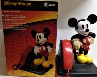 Vintage Mickey Mouse telephone phone with box