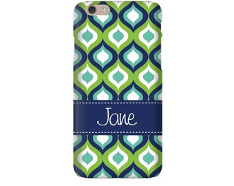 Monogram iPhone 7 Plus * 7 * 6/6S Plus * 6/6S * SE premium teal ogee phone case personalized with name or initials