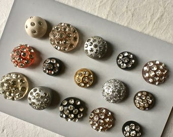 15 Vintage Domed Multi Rhinestone Buttons for Crafts and Sewing