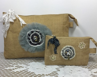 Burlap gift set, Burlap bags, Rustic gift, Bridesmaid gift, Bridal shower gift, Burlap cosmetic bag, Mothers day gift, Gift Ideas for her.