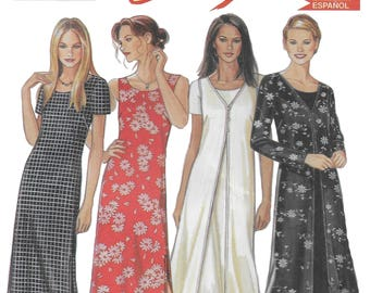 New Look 6835 Misses Dress and Duster Coat Sewing Pattern with 4 views Bust 32 to 44
