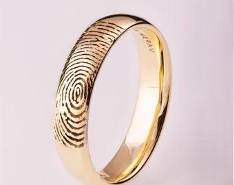 Fingerprint Wedding Band, Gold Fingerprint Ring, Fingerprint Ring , Wedding Ring , Wedding Band, Personalized Band, Personalized Ring