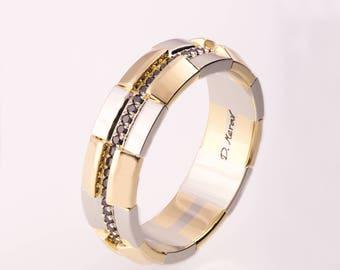 Gold Wedding Band, Men's 14K Gold and Black Diamond Wedding band, steampunk Wedding ring, two tone wedding ring, two tone wedding band, 19