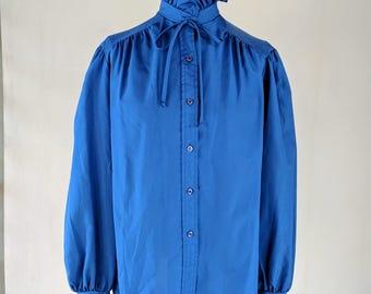 Bright Blue Ruffle Neck Button Down Shirt Top