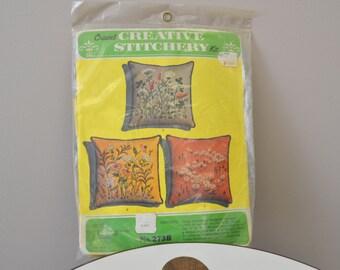 1970s Floral Crewel Pillow Kit