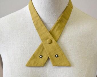 1950s Mustard Silk Continental Crossover Tie