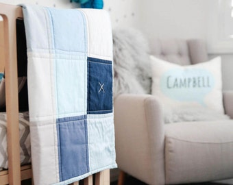 Baby Boy Blanket - Patchwork cot Quilt - The George...crib bedding, baby quilt, cot quilt, modern vintage style quilt