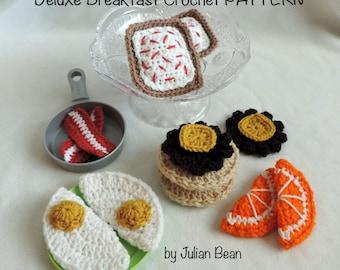 Deluxe Breakfast Play Food crochet PATTERN by Julian Bean