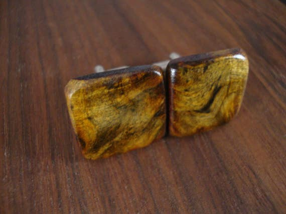 Wooden Men's Cuff Links - Buckeye Burl Wood - Wedding, anniversary - Natural and Eco Friendly Jewelry