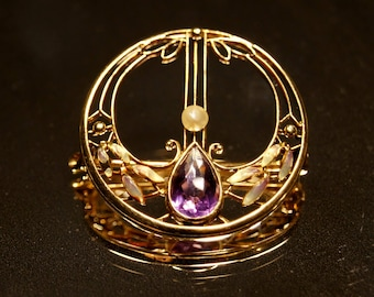 14K Gold Art Nouveau Amethyst Enameled Brooch