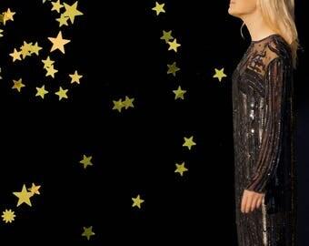 Art Deco Black Silk Sequined Gatsby Dress