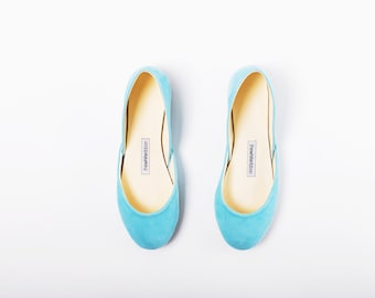 The Nubuck Ballet Flats in Alice Blue | Something Blue