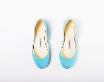 The Nubuck Ballet Flats in Tiffany Blue | Made to Order
