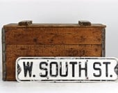 Street Sign, Vintage Street Sign, W. South St., Black And White Street Sign, Old Street Sign, Metal Street Sign, Rustic Decor, Industrial