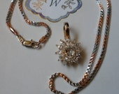 Roman Signed Pendant! 12 Marquise Cut Cubic Zirconias! 1 Oval Cubic Zirconia! New Gold Filled Rainbow Box Chain! Free Shipping! On Sale Now!