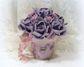 Shabby Chic Arrangement, Shabby Chic Decor, Purple Roses, Rose Arrangement, Lavender Roses, Shabby Paris Chic, Paris Apartment, French Decor