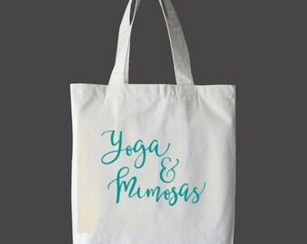 Yoga Tote Bag | Tote Bag | Yoga and Mimosas | Farmers Market Tote | Reusable Tote | Printed Tote Bag | Yoga Tote Bag | Brunch Tote Bag