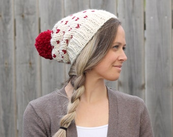 Woman's Heart Fair Isle Knitted Slouchy Hat- Off White with Red- Hearts
