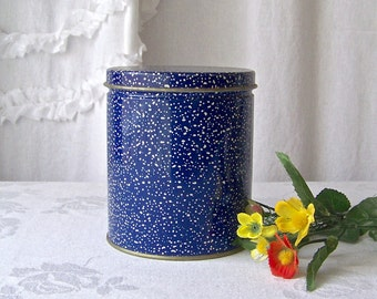 Vintage Kitchen Tin Blue and White Speckled Canister Storage Container Vintage 1980s