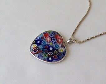 Vintage Art Glass Pendant Necklace Flowers Heart Fusion Glass Heart Pendant Necklace Costume Jewelry 1990s