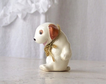 Vintage Porcelain Dog With Collar Cute Mutt 1960s