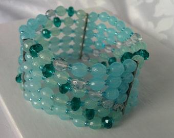 Vintage 6 Row Blue Green Stretch Beaded bracelet, Cuff Bracelet