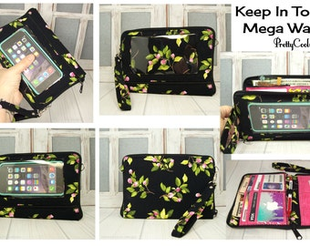cell phone wallet case • Custom • black floral LAST ONE • Keep in Touch MEGA Wallet™ • 7e