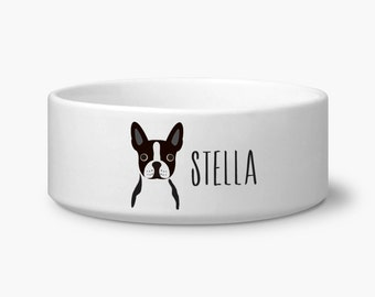 Personalize Boston Terrier dog bowl, pet bowls personalized custom name