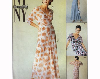 UNCUT Sewing Pattern for Empire Waist Dress with Slimming Midriff Panel + Full Slip Vintage 90s Size 8 10 12 Bust 31.5-34 McCall's 9263