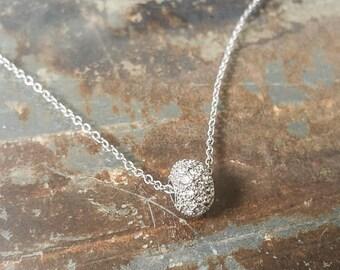 Crystal Necklace, Silver Crystal Necklace, Silver Pave Crystal Necklace, Pave Crystal Necklace, Silver Pave Crystal, Pave Crystal