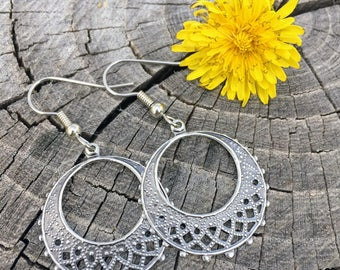 Antique Silver Filigree Hoops . Earrings