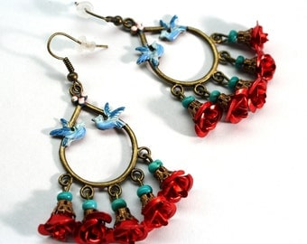 Christmas Earrings, Chandelier Earrings, Frida Earrings, Turquoise Earrings, Red roses Earrings, Gift for Mom