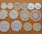 14 Vintage Doilies in Natural Colors, Beige, Ecru, White, and Off White Small Crochet Doilies