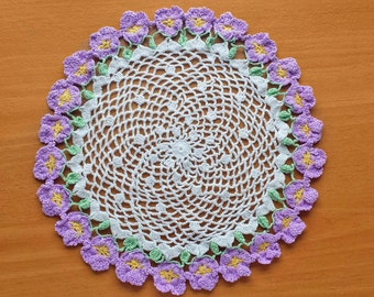 Crochet Doily with Purple Flower Border, Sweet 8 inch Doily with Violets, Pretty Home Decor, Girly Floral Doily