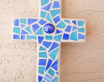 Mosaic Cross Decorative Cross Blue Wall Cross Hanging Cross Religious Gift Blue Home Decor Stained Glass Mosaic Art Boy's Room Cross