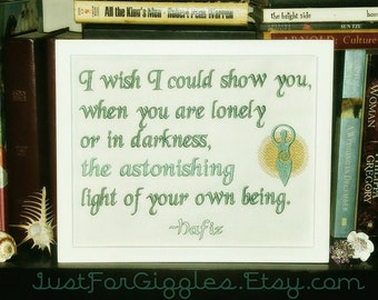 """Jade and gold Hafiz quote """" You are Astonishing """" framed sign, 8x10 inch embroidery Spiritual goddess Divine mother bff gift Light within"""