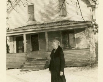 "Vintage Photo ""Morning Snowfall Stroll"" Snapshot Antique Photo Old Black & White Photograph Found Paper Ephemera Vernacular - 189"