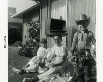 "Vintage Photo ""The Easter Cowboy"" Children Costume Boy Toy Gun Snapshot Old Antique Black & White Photograph Found Photo Paper Ephemera - 97"