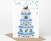 Pug Wedding Card, Mr & Mrs (pug love card, pug engagement card, pug anniversary card, dog wedding card, tattoo wedding card)