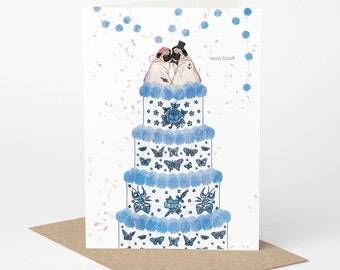Pug Wedding Card, Mr & Mrs (pug love card, pug engagement card, pug anniversary card, dog wedding card, tattoo wedding card)