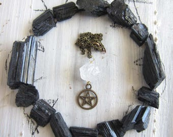 wiccan necklace - crystal Pentacle pendant witchcraft jewelry wiccan amulet pagan wicca pentagram mystical witchy occult