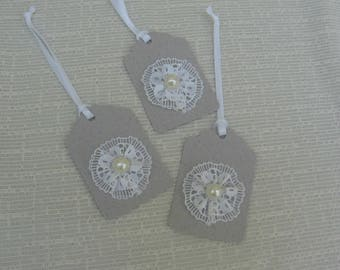 Lace and Pearl Wedding Gift Tags, Set of THREE, Gray & White Any Day Tag