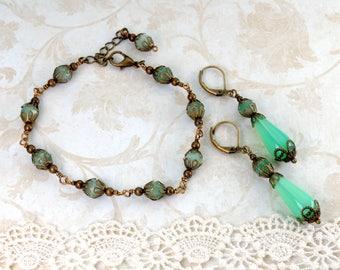 GREEN Victorian Jewelry Set Light Green Antique Brass Bracelet Earrings GEMSTONE Jewelry Victorian Steampunk Jewelry by VictorianCuriosities