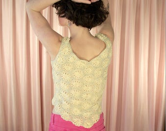 70s Pastel Yellow and Silver Floral Macrame Spiral Sleeveless Tank Blouse