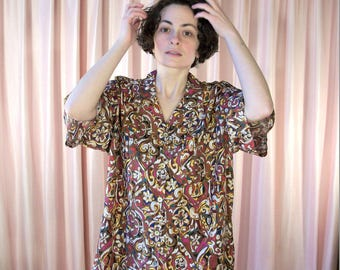 Brown 90's Print Short Sleeve Shirt XL