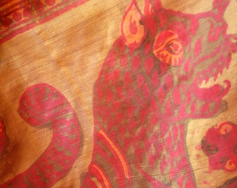 Indian Handwoven Silk Hand Painted Tiger Tapestry