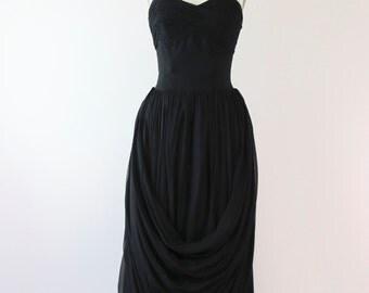 1950s Frank Starr Silk Chiffon Evening Gown