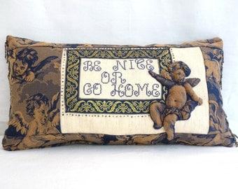 OOAK Applique Trapunto Cherub Putti Angel Pillow Insert Included Baroque Renaissance Fleur de Lis Framed Cross Stitch Saying Bead Fringed