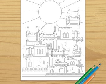 castle coloring page, building coloring page, architecture coloring page, sun coloring page, fairy tale coloring page, digital download