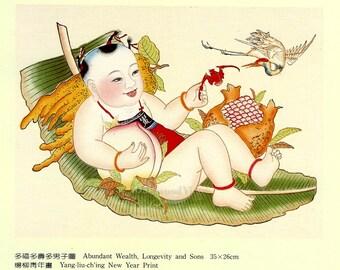 Abundant Wealth & Longevity Chinese New Year's Print, Vintage 1983 8x10 Asian Art, Yang-liu-ching, FREE SHIPPING